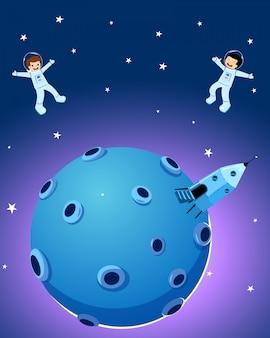 Niños lindos felices del astronauta y nave espacial en la luna.