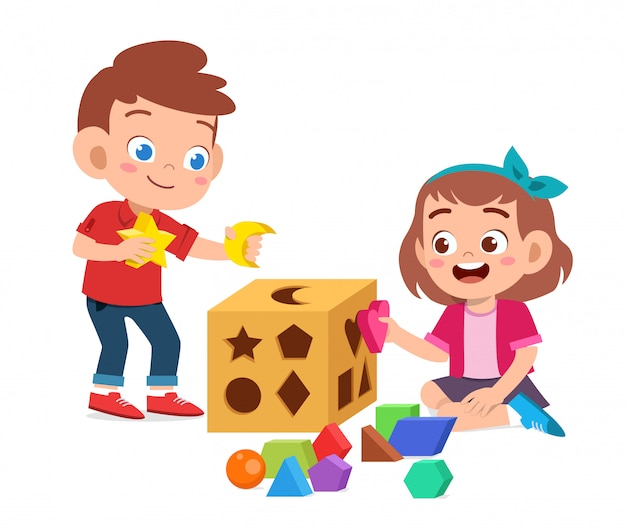 Los niños lindos felices juegan aprenden geometría 3d