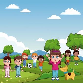 Niños lindos jugando en dibujos animados del parque