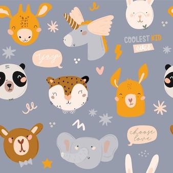 Niños lindos de patrones sin fisuras escandinavo con animales divertidos, juguetes móviles para niños, puf