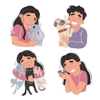 Los niños lindos sostienen a sus mascotas en los brazos. conjunto de imágenes prediseñadas