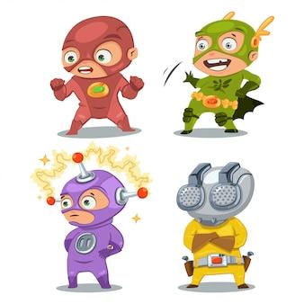 Niños lindos superhéroes en disfraces.