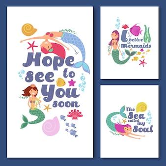 Niños lindos tarjetas vector náuticas. invitaciones para niños marinos con graciosas sirenas.