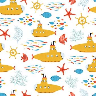 Niños mar de patrones sin fisuras con submarino amarillo, peces en estilo de dibujos animados. linda textura para la habitación de los niños.