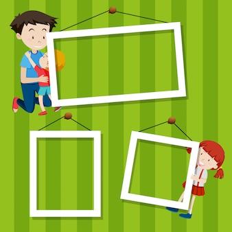 Niños en marco de fotos