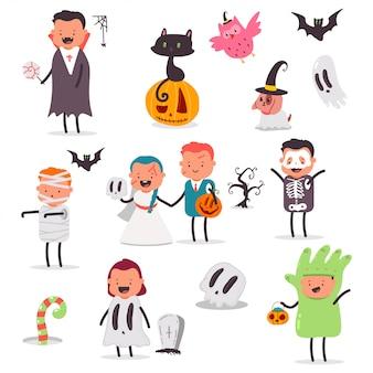 Niños y mascotas en disfraces conjunto de dibujos animados.