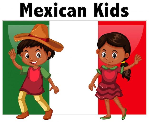 Niños mexicanos con bandera