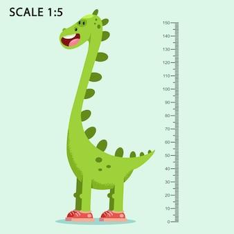 Los niños miden la pared con un lindo dinosaurio de dibujos animados sonriente y una regla de medición ilustración vectorial de un animal aislado en el fondo.