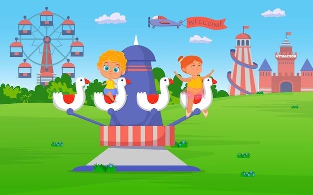 Niños montando atracción en el parque de atracciones ilustración