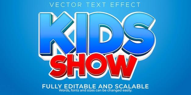 Los niños muestran dibujos animados editables con efecto de texto y estilo de texto cómico