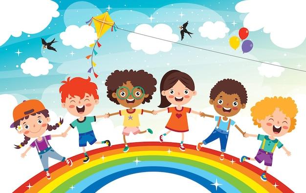 Niños multiétnicos jugando en arco iris