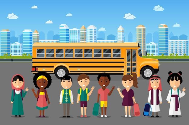 Niños multinacionales que van a la escuela. grupo chino japonés árabe, infancia feliz sonrisa, ilustración vectorial