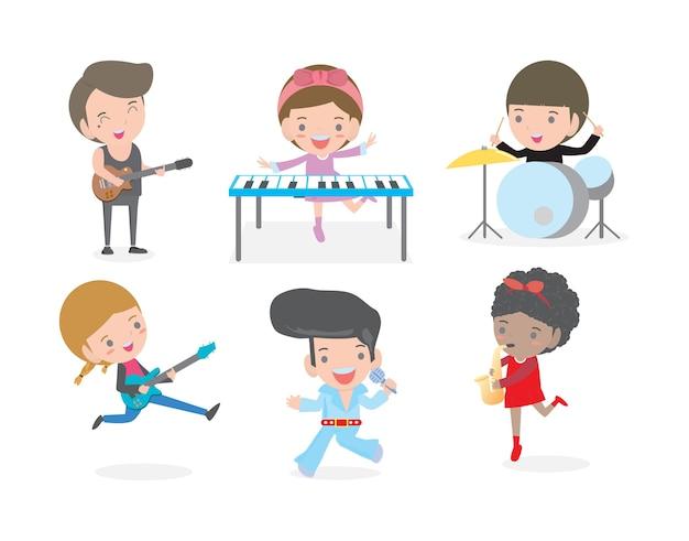 Niños y música, niños tocando musical aislado sobre fondo blanco ilustración
