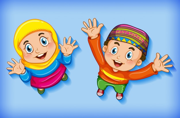 Niños musulmanes felices desde vista aérea