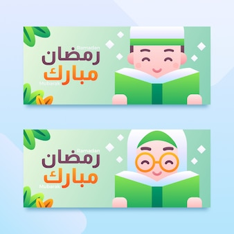 Niños musulmanes niño y niña con corán ramadán