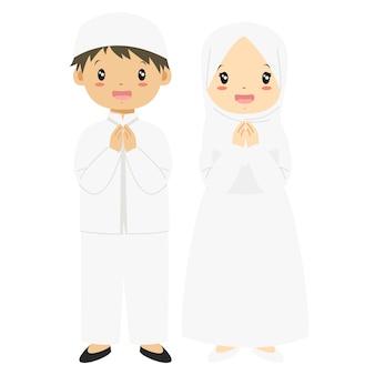 Niños musulmanes en vector de carácter vestido blanco