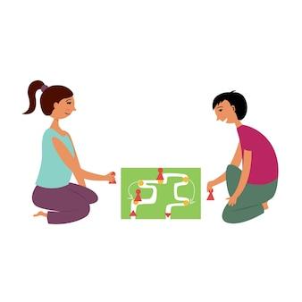 Niños niña niño jugar juego de mesa