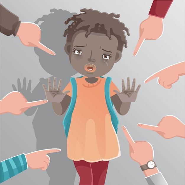 Niños niña racismo. señal de stop de niña africana.
