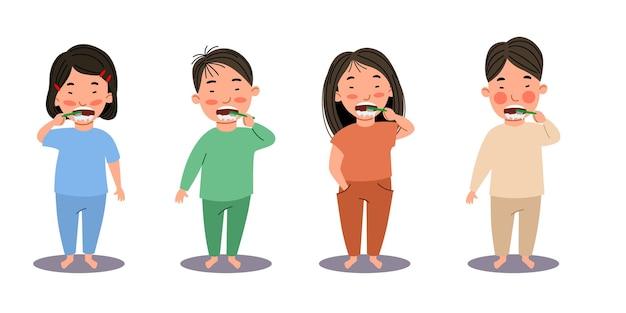 Los niños y niñas asiáticos se cepillan los dientes. los niños son higiene. un niño con un cepillo de dientes. ilustración de vector de estilo plano