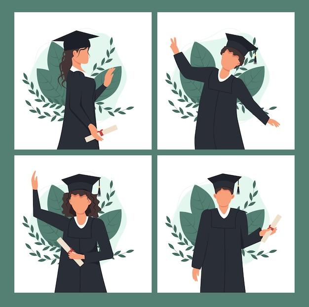 Niños y niñas celebrando la graduación universitaria.