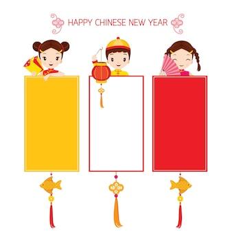 Niños y niñas en conjunto de banners, celebración tradicional, china, feliz año nuevo chino