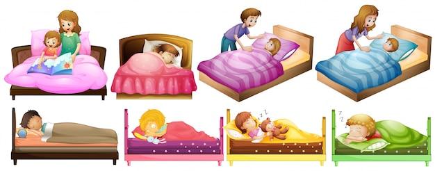 Niños y niñas en la ilustración de la cama