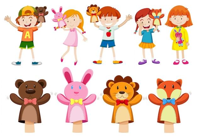 Niños y niñas con ilustración títeres de mano