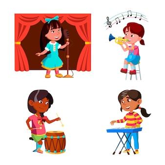 Niños, niñas, juego, música, orquesta, conjunto, vector