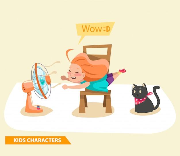 Niños niñas jugando con fan y diseño de personajes de gato.