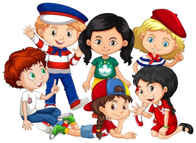 Niños y niñas juntos en grupo sobre fondo blanco.