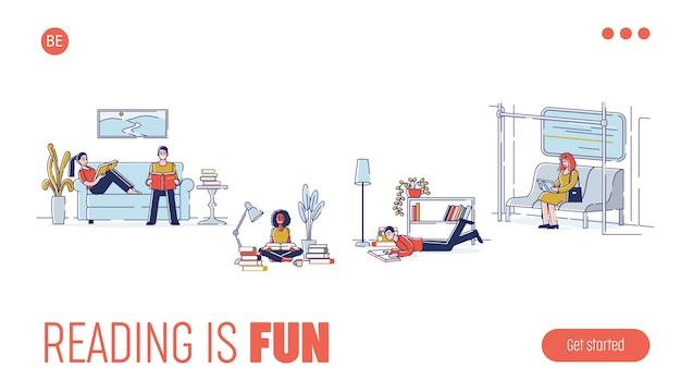 Niños y niñas leyendo aprendiendo en diferentes lugares