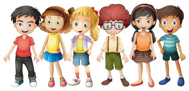 Niños, niñas, posición, grupo, ilustración