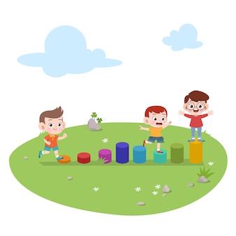 Niños niños jugando ilustración infantil