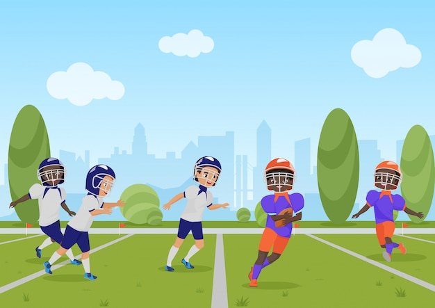 Niños niños jugando partido de fútbol americano. ilustración de dibujos animados.