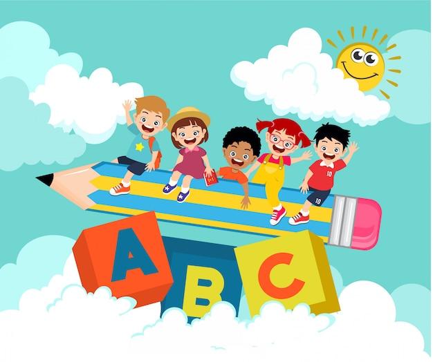 Niños niños niños niña abc escuela ilustración
