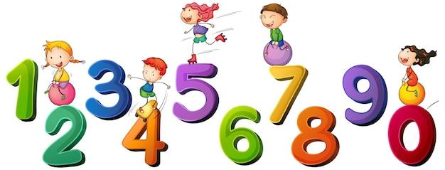 Niños y números del uno al cero.