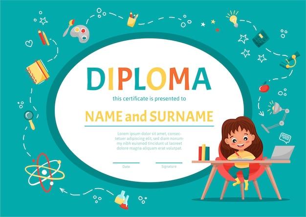Niños o certificado de diploma de niños para jardín de infantes o escuela primaria con una linda chica haciendo la tarea en la mesa en el fondo con elementos dibujados a mano. ilustracion de dibujos animados