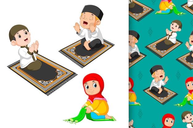 Los niños oran y doblan su tapete de oración, patrón e ilustración