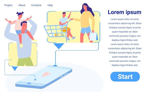 Niños con padres en compras, compras en línea