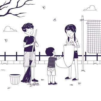 Niños y padres haciendo tareas domésticas juntos.