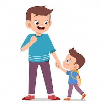 Niños con padres en el primer día de escuela