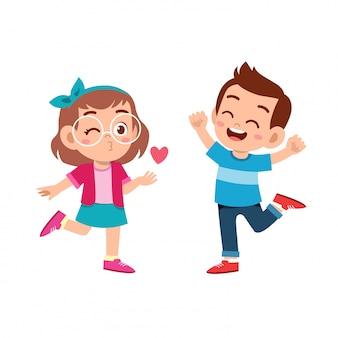 Niños pareja enamorada