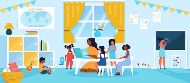 Los niños pasan tiempo en el jardín de infantes o en el preescolar teniendo una lección con un maestro joven