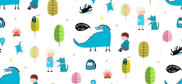 Niños sin patrón imprimir dragon y niños