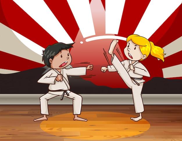 Niños peleando artes marciales