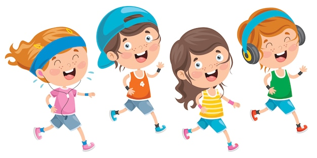 Niños pequeños aislados corriendo afuera