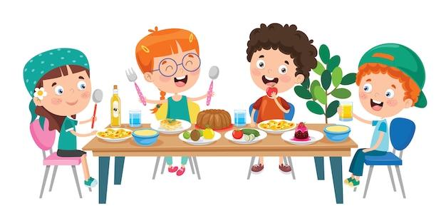 Niños pequeños comiendo alimentos saludables | Vector Premium