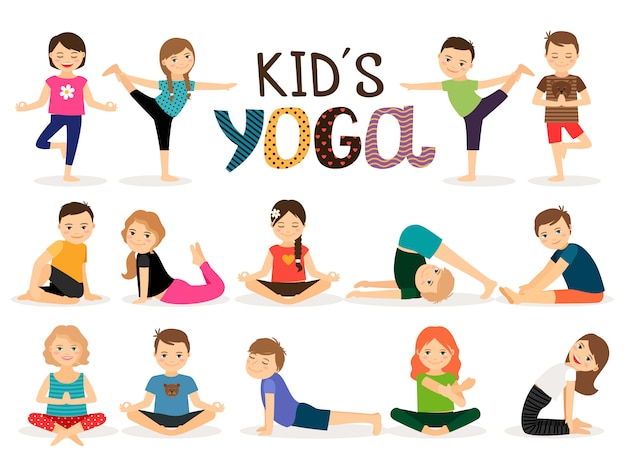 Niños pequeños en diferentes posturas de yoga.
