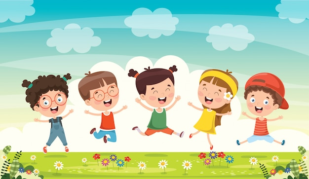 Niños pequeños divirtiéndose juntos