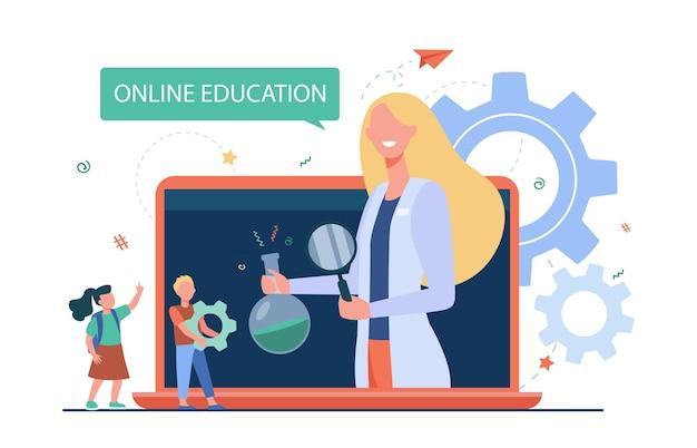 Niños pequeños escuchando lección a través de una computadora portátil. ilustración plana del profesor elemental, e-learning.